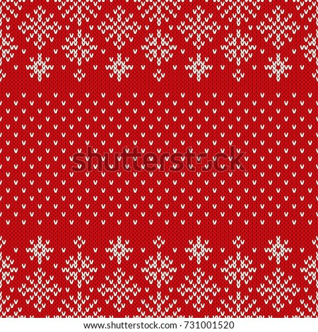 Christmas Seamless Knitted Pattern Snowflakes Christmas Stock Vector