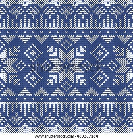Christmas Seamless Knitting Pattern Norwegian Motifs Stock Vector