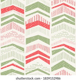 Christmas seamless pattern from abstract geometric Christmas trees for greeting cards, wrapping paper. Seamless pattern with zigzag stripes. Abstract geometric texture. Vector illustration.