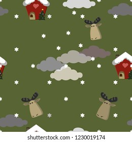 Christmas seamless pattern for baby.  Green background with moose head,  clouds and snowflakes. Gingerbread house with fir tree. For baby print design. Vector illustration.