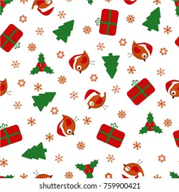 christmas seamless pattern, background with birds, trees, presents and snowflakes