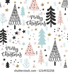 Christmas seamless pattern, background for gift wrapping, wallpapers, surface design