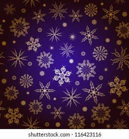 Christmas seamless pattern background. Gold snowflakes on a blue background. EPS 10.