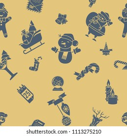 Christmas Seamless Pattern Background. Retro Color. Simple and Minimalistic Style. Vector