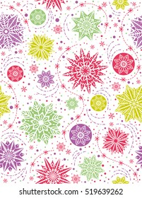 Christmas seamless pattern background with snowflakes and stars,  vector illustration