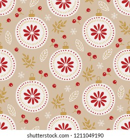 Christmas seamless pattern with balls, berries, leaves, branches, snowflakes on beige background. Perfect for holiday invitations, winter greeting cards, wallpaper and gift paper