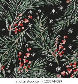 Christmas seamless pattern, black background. Green pine twigs, red berries, snowflakes. Vector illustration. Nature design. Season greeting digital paper. Winter Xmas holidays