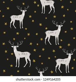 Christmas seamless pattern, black background. Forest deer animals, gold stars. Vector illustration. Nature design. Season greeting. Winter Xmas woodland holidays