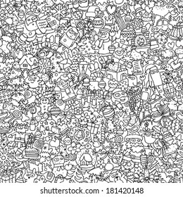 christmas seamless pattern in black and white repeated with mini doodle drawings icons - Christmas In Black And White