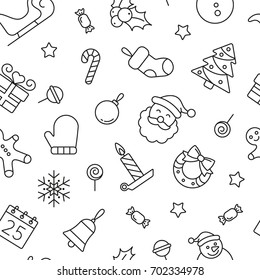 Christmas seamless pattern, black and white icons