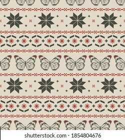 Christmas Seamless Pattern with butterfly. Christmas and New Year Design retro mood Background. Knitting Sweater Design on vintage light brown background color