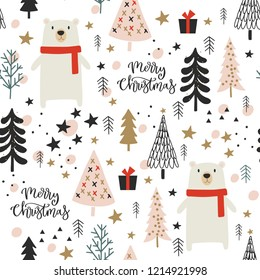 Christmas seamless pattern with calligraphy, trees, white bear for gift wrapping, wallpapers, surface design