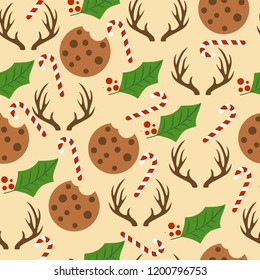 Christmas seamless pattern with Christmas candy canes, reinders, mistletoe and cookies for Christmas background,  wrapping paper, print. Vector