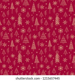 Christmas seamless pattern with Christmas-tree and snowflakes. Red and Gold wrapping paper texture. Happy New Year Wallpaper. Fabric print. Winter Background for Wedding and Festival. Retro Style.
