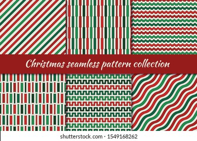 Christmas seamless pattern collection. Holiday backgrounds set. Print kit in traditional colors. Zigzag lines, diagonal pinstripe, wavy stripes motif. Classic geometric ornaments. Vector digital paper