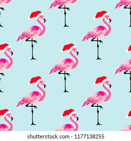 Christmas seamless pattern with cute flamingos in hats