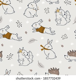 Christmas seamless pattern with cute forest animals. Vector illustration for wrapping paper and scrapbooking