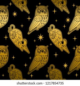 Christmas seamless pattern with cute owls and mouse. Vector illustration. Stylish graphic design in retro vintage colors. Winter tale about the Nutcracker and the Mouse King.