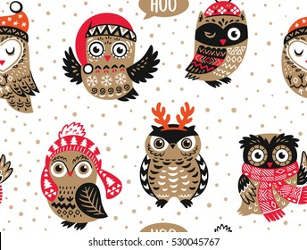 Christmas seamless pattern with cute owls in knitted hats, scarves and reindeer antlers. Vector illustration. Stylish graphic design in retro vintage colors