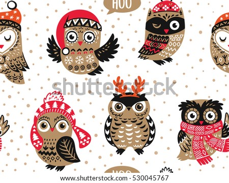 Christmas Seamless Pattern Cute Owls Knitted Stock Vector Royalty
