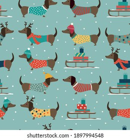 Christmas seamless pattern with dachshunds wearing hats and clothes on blue background. Vector illustration.