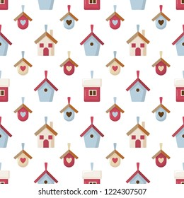 Christmas seamless pattern with decorative houses and little nesting boxes