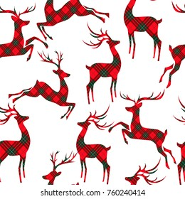 Christmas seamless pattern with deer on tartan background. Vector illustration.