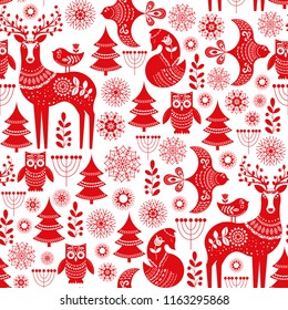 Christmas seamless pattern with deer, owls, foxes, and birds in white and red. Scandinavian style. Folk art.