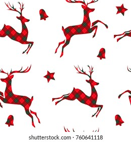 Christmas seamless pattern with deer, stars and bells on tartan background. Vector illustration.