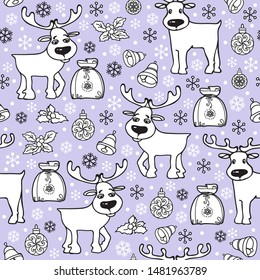 Christmas seamless pattern with deer. Winter holidays New Year background. Hand drawn gift, ball; snowflake, bell, and reindeer isolated on light grey. Doodle linear cartoon endless vector.