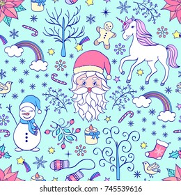 Christmas seamless pattern with festive elements on blue background.Vector illustration