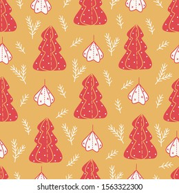 Christmas seamless pattern with fir trees and branches on gold background. Perfect for greeting cards, wallpaper, gift paper, winter decorations