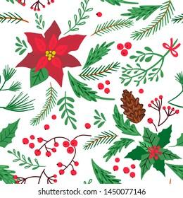 Christmas seamless pattern of fir-tree twigs, mistletoe, punchettium flowers and berries