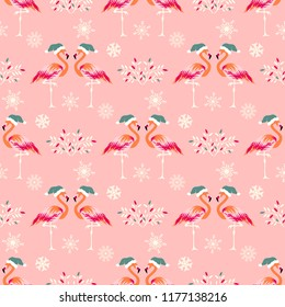 Christmas seamless pattern with flamingos in hats