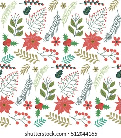 Christmas seamless pattern with christmas floral. Vector illustration