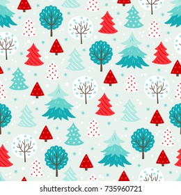 Christmas seamless pattern with forest trees and snowflakes on light background. Perfect for wallpaper and greeting cards