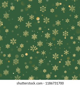 Christmas seamless pattern with gold snowflakes on green background. Holiday design for Christmas and New Year decoration. EPS 10