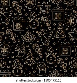 Christmas seamless pattern. Golden doodles on a black background. Vector illustration