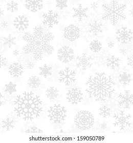 Christmas seamless pattern from gray snowflakes on white background