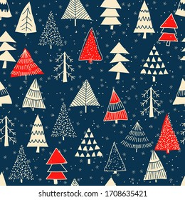 Christmas seamless pattern for greeting cards, wrapping papers. Doodle Christmas trees. Hand drawn winter background. Vector illustration.
