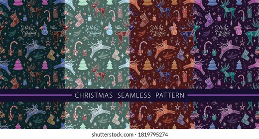 "Christmas seamless pattern for greeting cards and wrapping paper. Winter hand-drawn background with the inscription ""Merry Christmas"". Greeting card with text in the Christmas styl."