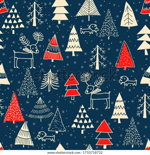 Christmas seamless pattern for greeting cards, wrapping papers. Hand drawn winter background from doodle Christmas trees, snowflakes, deers and dogs. Vector illustration.
