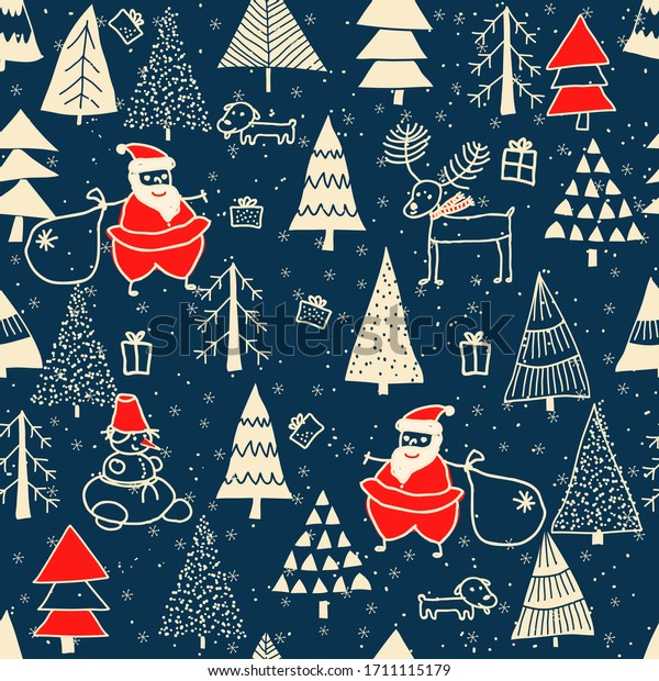 Christmas seamless pattern for greeting cards, wrapping paper. Hand drawn winter background from doodle Christmas trees, Santa, snowflakes, deer and dogs. Vector illustration.