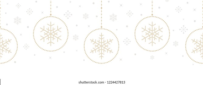 Christmas seamless pattern. Holiday dotted signs and symbols hanging on white background. Christmas tree balls and snowflakes. Vector illustration.