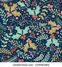Christmas seamless pattern with holly leaves and berries for greeting cards, wrapping papers. Vector illustration