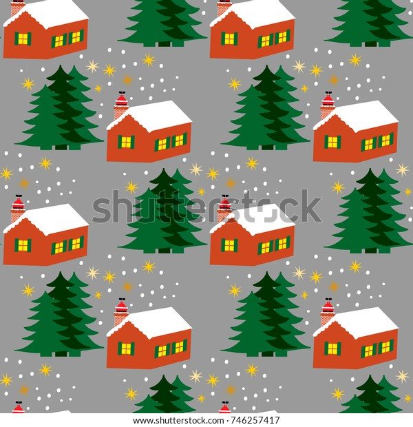 Christmas seamless pattern with house and Santa Claus in the chimney