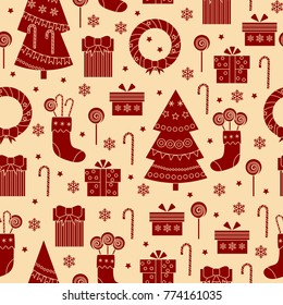Christmas seamless pattern icons on white background. One color print. Vector