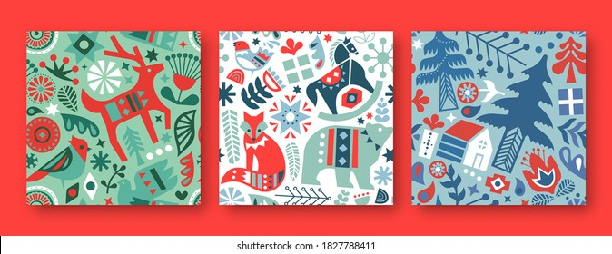 Christmas seamless pattern illustration set. Colorful scandinavian folk art icon backgrounds. Holiday decoration in vintage nordic style includes winter reindeer, bear, pine trees, and flowers.