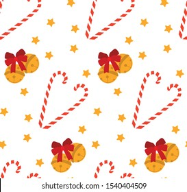 Christmas seamless pattern. Jingle bells, sweets, stars. Vector.