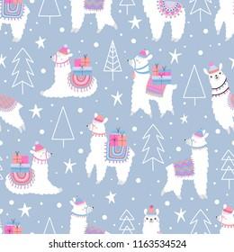 Christmas seamless pattern with lama.